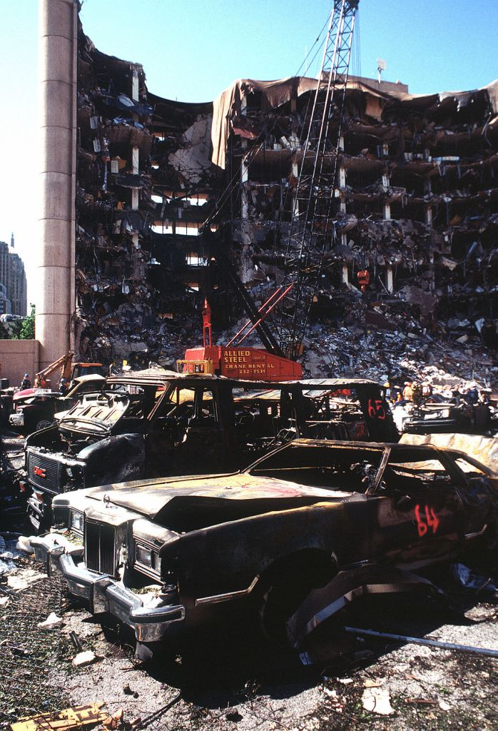 The bombing of the Alfred P. Murrah Federal Building in Oklahoma City on April 19, 1995 was the deadliest act of homegrown terrorism in U.S. history, resulting in the deaths of 168 people. In a matter of seconds, the blast destroyed most of the nine-story building, incinerated nearby vehicles, and damaged or destroyed more than 300 other buildings.